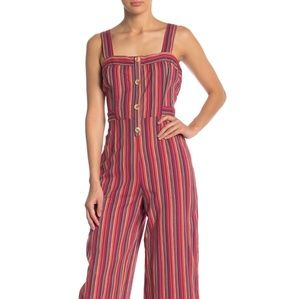 Abound Striped Open Back Woven Jumpsuit